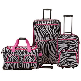 Rockland Perfect Ensemble Pink Zebra 3-piece Rolling Expandable Upright Luggage Set