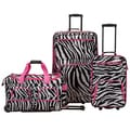 Rockland Deluxe Pink Zebra Perfect Combination 3-piece Rolling Expandable Luggage Set
