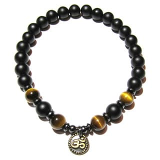 Tiger Eye Matte Black Onyx Bracelet and Ohm Charm Medium
