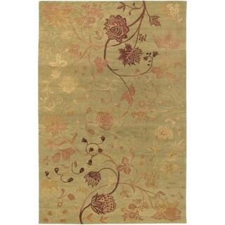 Hand-knotted Impressions Oriental Garden Sage/ Raspberry Wool Rug (6' x 9')