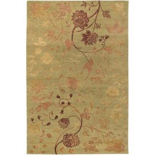 Hand-knotted Impressions Oriental Garden Sage/ Raspberry Wool Rug (8' x 10')