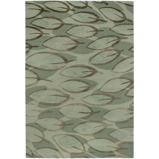 Hand-knotted Impressions Leaf Sage/ Silver Wool Rug (8' x 10')