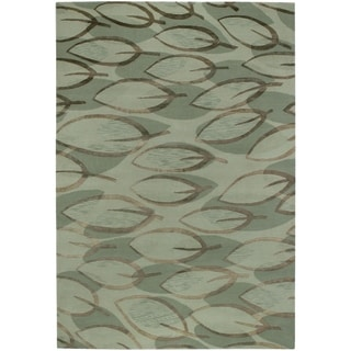Hand-knotted Impressions Leaf Sage/ Silver Wool Rug (6' x 9')