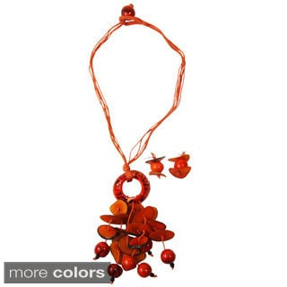 Tagua Pebbles Necklace and Earring Set