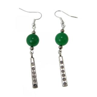Miao Silver Green Agate Drop Earrings (China)