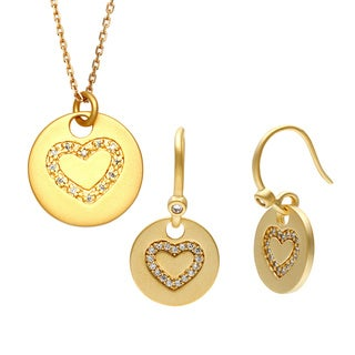 Sterling Essentials Gold Over Silver Petite Heart Round Pendant Necklace and Earrings Set