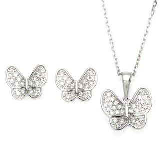 Sterling Essentials Silver Micro-Pave CZ Butterfly Necklace and Earring Set