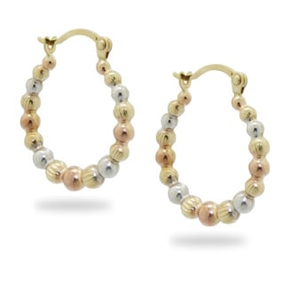 Gioelli 14k Tri-color Gold Puff Bead Hoop Earrings