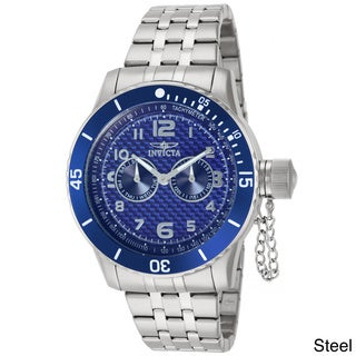 Invicta Men's Stainless Steel 'Specialty' Quartz Watch with Blue Dial