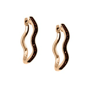 De Couer 10k Rose Gold 1/6ct TDW Cognac Diamond Hoop Diamond Earrings (H-I, I2)