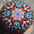 Flower Design Round Floor Pillow (India)