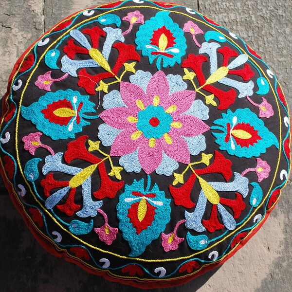 Flower Design Round Floor Pillow (India)