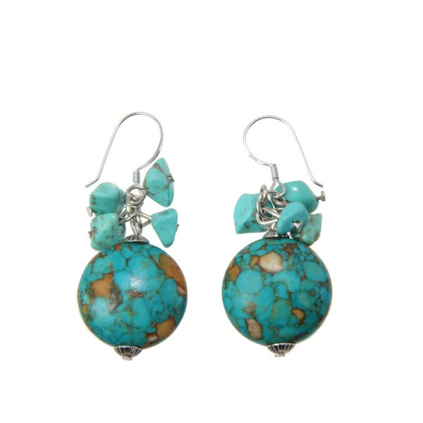 Handmade Turquoise Beaded Earrings (China)