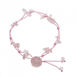 Handmade Rose Quartz Rose Anklet (China)