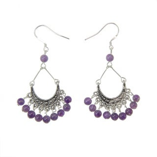 Tibetan Silver Amethyst Earrings (China)