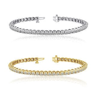 Auriya 14k Gold 1 to 12ct TDW Diamond Tennis Bracelet (H-I, I1-I2)