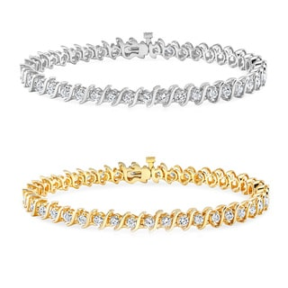 Auriya 14k Gold 1 to 10ct TDW Diamond 'S' Link Tennis Bracelet (H-I, I1-I2)