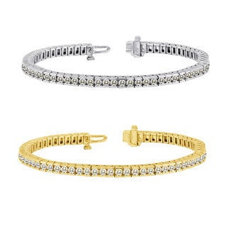Auriya 14k Gold 3 to 10ct TDW Diamond Tennis Bracelet (J-K, I2-I3)