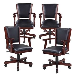 Hathaway Kingston Walnut Poker Table Arm Chair - Set of 4