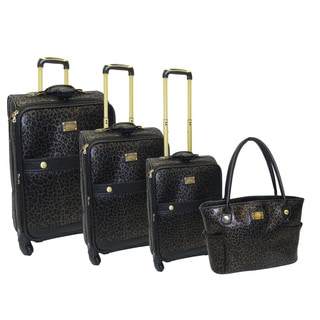 Adrienne Vittadini Black Leopard 4-piece Spinner Luggage Set