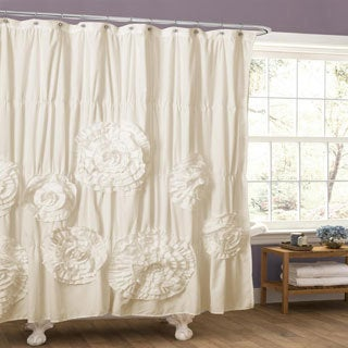 Lush Decor Serena Ruffle Trim Shower Curtain