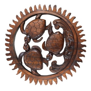 Carved Wood Sea Turtles Hanging Wall Decor | Overstock.com