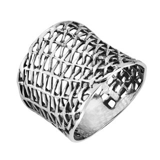 Modern Art Weave Net Design .925 Silver Ring (Thailand)