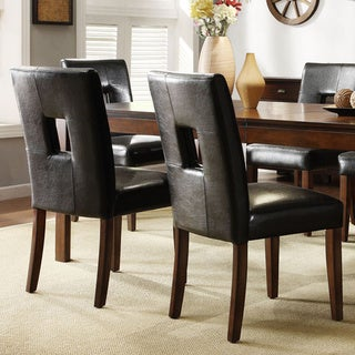 Mendoza Cherry Finish Black Keyhole Back Dining Chairs (Set of 2)