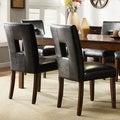 TRIBECCA HOME Mendoza Cherry Finish Black Keyhole Back Dining Chairs (Set of 2)