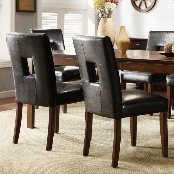 TRIBECCA HOME Mendoza Cherry Finish Black Keyhole Back Dining Chairs (Set of 2)