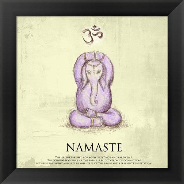 'Elephant Yoga, Namaste Pose' Framed Art
