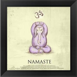'Elephant Yoga, Namaste Pose' Framed Art