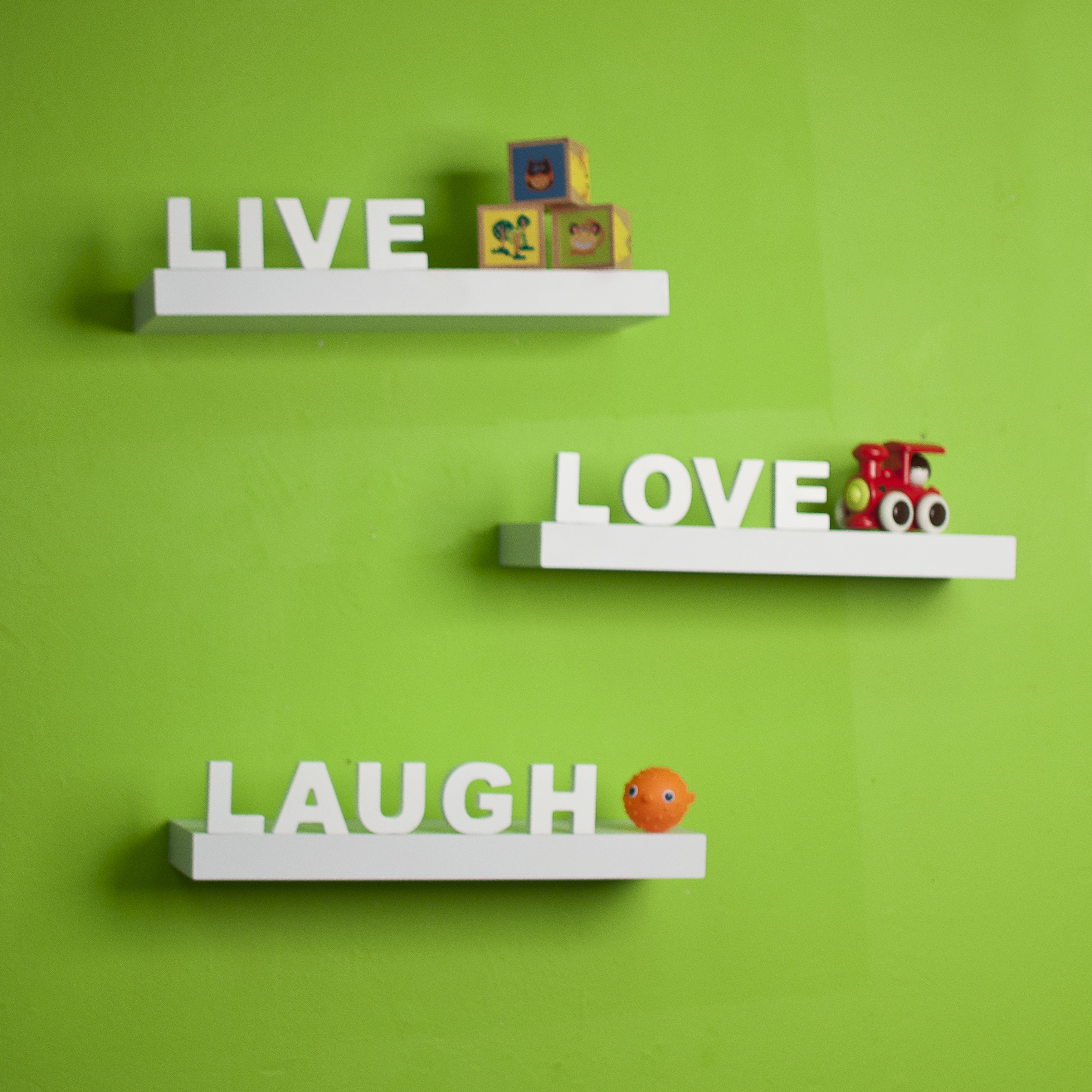 Danya B White Laminate 'Live, Love, Laugh' Inspirational Wall Shelves (Set of 3) at Sears.com