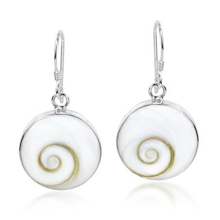 Cute Round 15mm Swirl Shiva Shell Silver Earrings (Thailand)