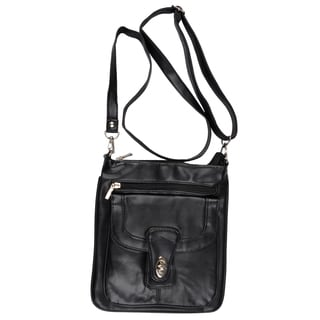 Journee Collection Womens Genuine Leather Messenger Handbag