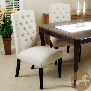 Christopher Knight Home Crown Tufted Ivory Fabric Dining Chairs (Set of 2)