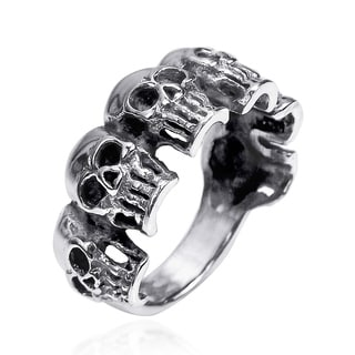 6 Skulls Regal Smile .925 Sterling Silver Band Ring