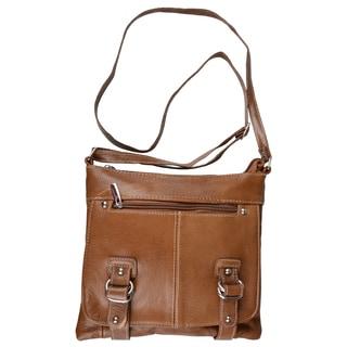 Journee Collection Women's Genuine Leather Messenger Handbag