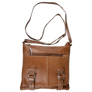 Journee Collection Women's Genuine Leather Messenger Handbag