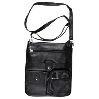 Journee Collection Women's Genuine Black Leather Cross-Body Handbag