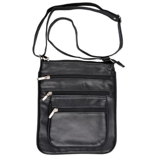Journee Collection Women's Genuine Leather Cross-Body Handbag with Six Pockets