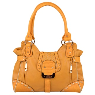 Journee Collection Womens Croc Print Double Handled Satchel