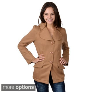 Journee Collection Juniors' Single Breasted Fleece Lined Coat