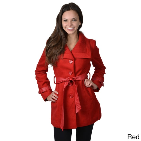 Journee Collection Junior's Belted Button-up Coat
