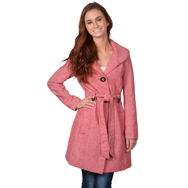 Journee Collection Junior's Long Red Button-Down Belted Coat