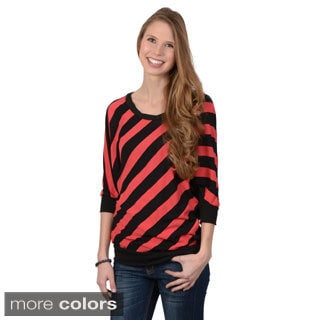 Journee Collection Juniors' Lace Back Striped Top