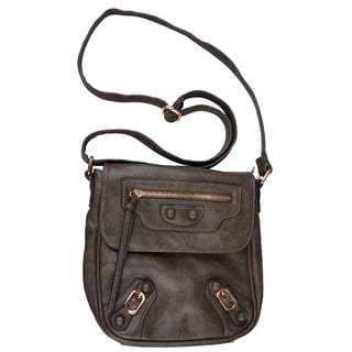 Journee Collection Womens Faux Leather Cross-body Handbag