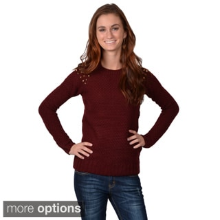 Journee Collection Junior's Long-sleeve Scoop Neck Sweater