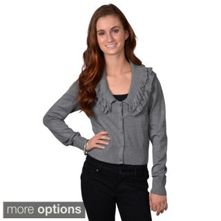 Journee Collection Juniors Ruffled Button-up Cropped Sweater