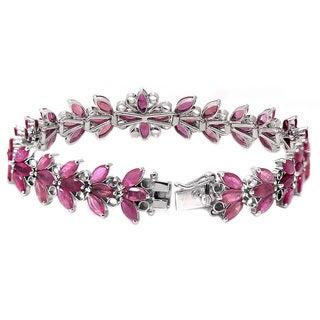 De Buman Sterling Silver Marquise-cut Natural Ruby Bracelet